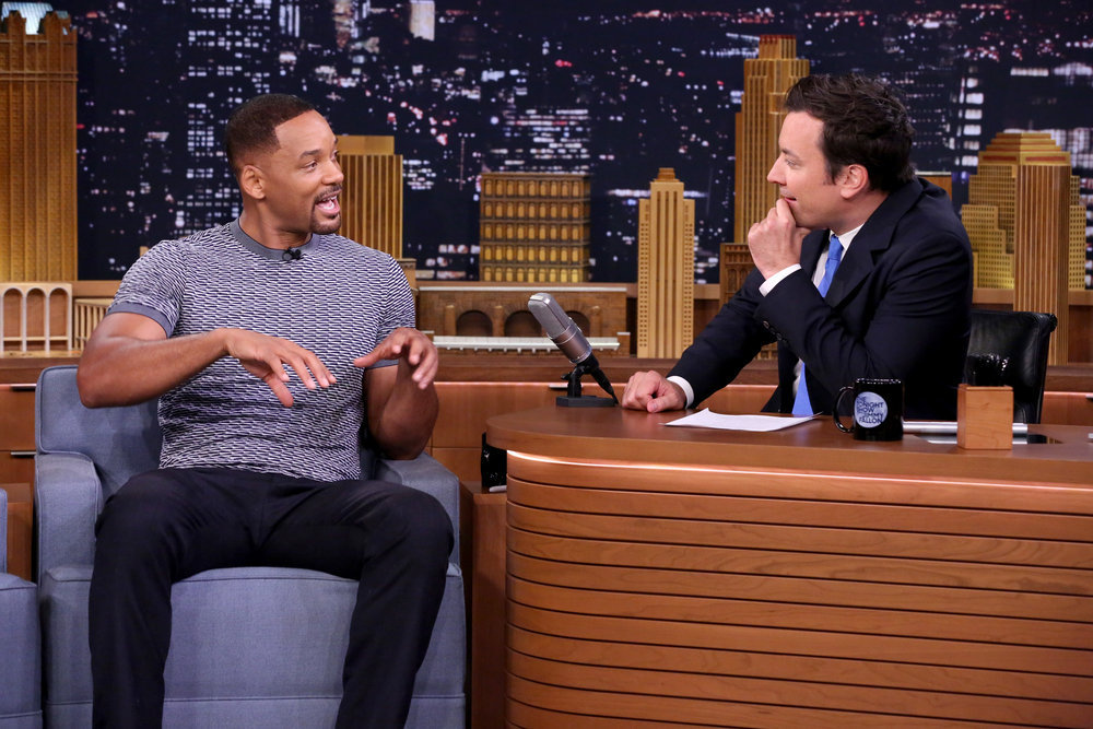 `The Tonight Show Starring Jimmy Fallon`: `Suicide Squad` star Will Smith during an interview with host Jimmy Fallon on July 28. (NBC photo by: Andrew Lipovsky)
