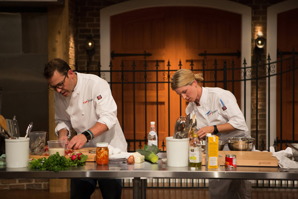 `Top Chef`: Pictured, from left, are cheftestants John Tesar and Casey Thompson. (Bravo photo by Paul Cheney)