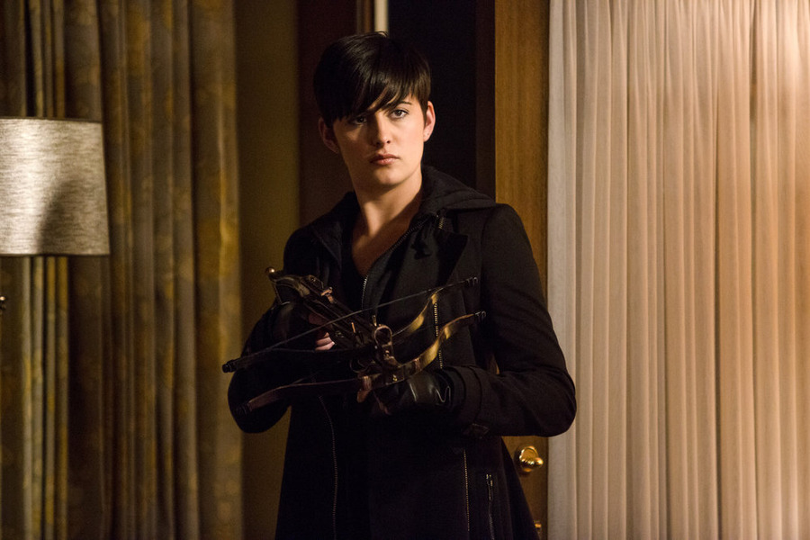 Jacqueline Toboni's Trubel used a crossbow to put an end to Juliette's Hexenbiest. (NBC photo)