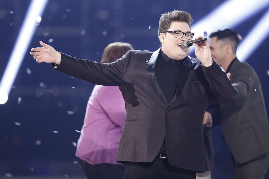 `The Voice`: `Live Finale` Jordan Smith on stage. (NBC photo by Tyler Golden)