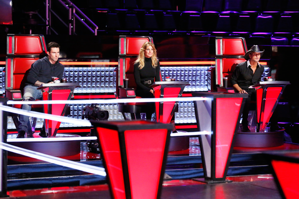 `The Voice` `Knockout Rounds` - Pictured, from left: Adam Levine, Faith Hill and Tim McGraw. (NBC photo by Trae Patton)