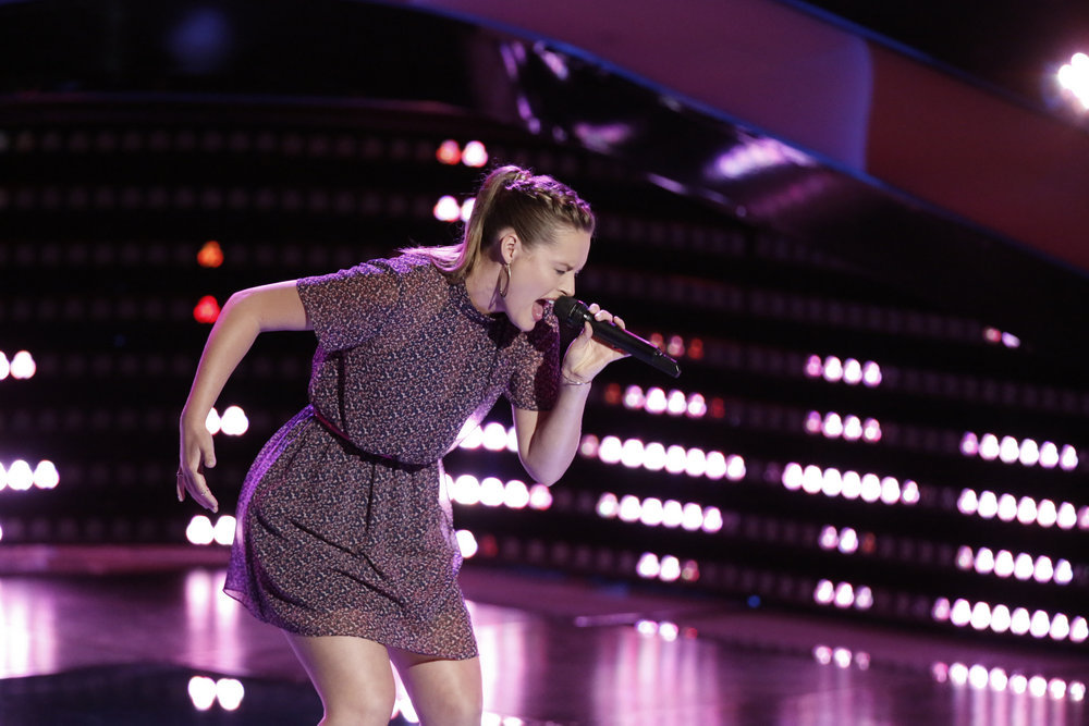 `The Voice` blind auditions: Hannah Huston performs. (NBC photos by Tyler Golden)
