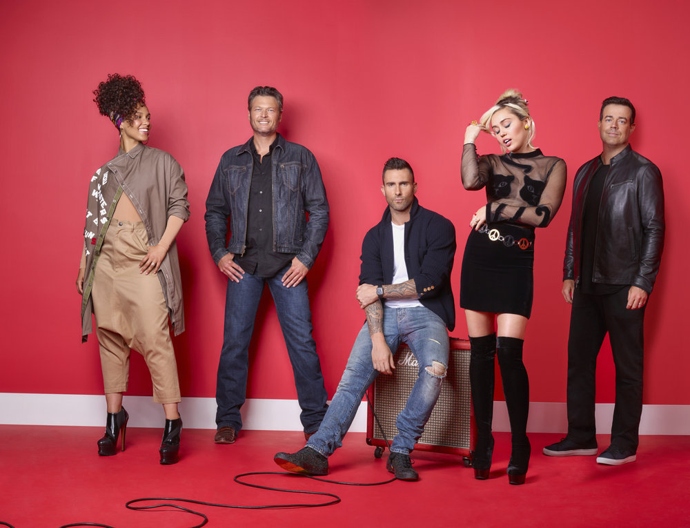 `The Voice,` Season 11 - Pictured, from left: Alicia Keys, Blake Shelton, Adam Levine, Miley Cyrus and Carson Daly. (NBC photo by Michael Muller)