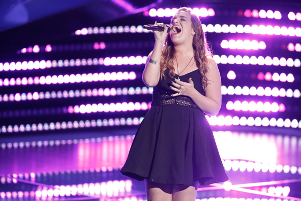 `The Voice`: Katie Basden sings during her blind audition. (NBC photo by Tyler Golden)