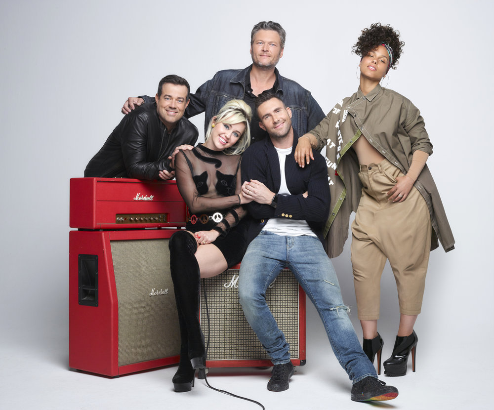 `The Voice`: Pictured, from left: Carson Daly, Miley Cyrus, Blake Shelton, Adam Levine and Alicia Keys. (NBC photo by Michael Muller)