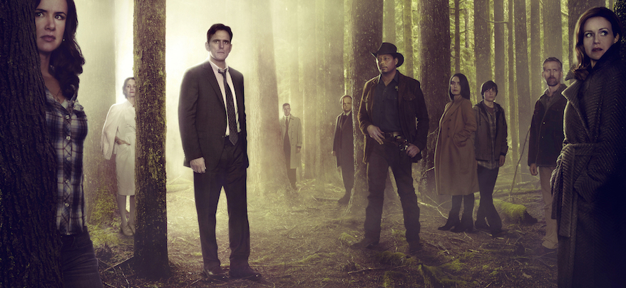 `Wayward Pines`: Pictured, from left: Juliette Lewis, Melisa Leo, Matt Dillon, Tim Griffin, Toby Jones, Terrence Howard, Shannyn Sossamon, Charlie Tahan, Reed Diamond and Carla Gugino. (FOX photo by Frank Ockenfels)