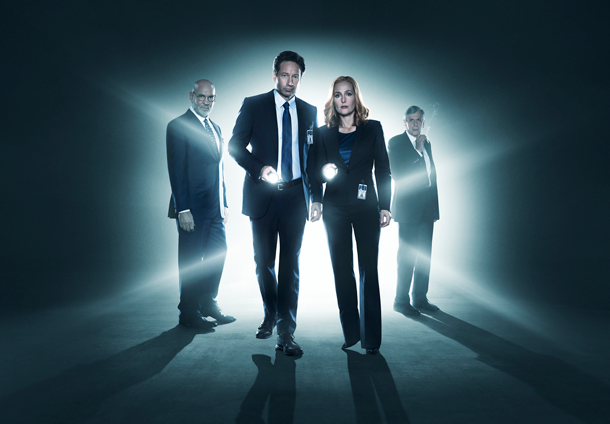 `The X-Files`: From left: Mitch Pileggi, David Duchovny, Gillian Anderson and William B. Davis. A new episode airs at 8 p.m. Monday on FOX. (Photo by Frank Ockenfels/FOX)