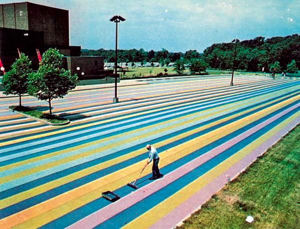 Gene Davis' painted parking lot appeared at Artpark in the 1970s. (Photo courtesy of Artpark)
