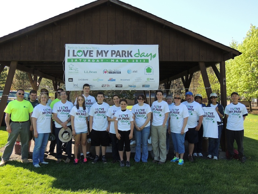 Community volunteers and State Parks' workers spruced up Artpark Saturday.