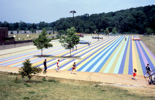 Pictured is an aerial view of Gene Davis' `Niagara 1979.` Artpark & Company will recreate a `Painted Parking Lot` this spring. (Photo provided by Artpark & Company; 1979 images are from the Artpark Archival Collection at the Burchfield Penney Art Center)