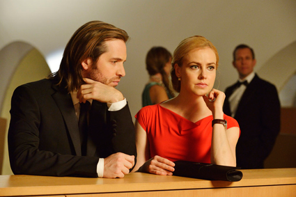 """12 Monkeys"": Pictured, from left, are stars Aaron Stanford as James Cole and Amanda Schull as Dr. Cassandra Railly. (Syfy photo by Ben Mark Holzberg)"