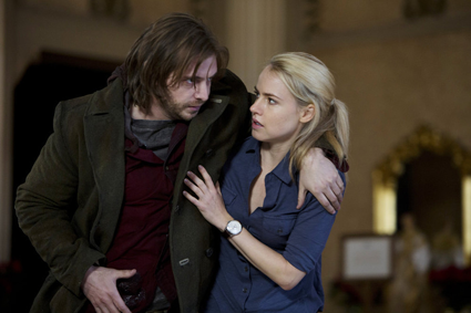 """12 Monkeys"": Pictured, from left, are stars Aaron Stanford as James Cole and Amanda Schull as Dr. Cassandra Railly. (Syfy photo by Alicia Gbur)"