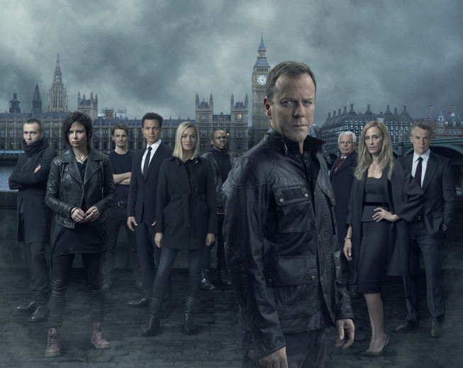 `24: Live Another Day`: Pictured, from left, are stars Michael Wincott, Mary Lynn Rajskub, Giles Matthey, Benjamin Bratt, Yvonne Strahovski, Gbenga Akinnagbe, Kiefer Sutherland, William Devane, Kim Raver and Tate Donovan. `24: Live Another Day` is set to premiere Monday, May 5, on FOX. (FOX photo by Greg Williams)