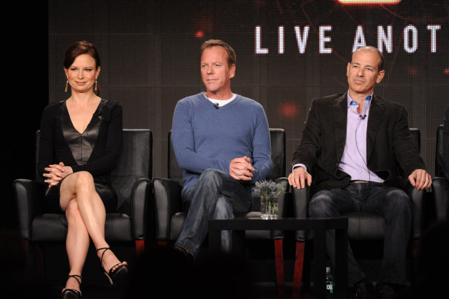 2014 FOX Winter TCA: Mary Lynn Rajskub, Kiefer Sutherland and Executive Producer Howard Gordon during the `24: Live Another Day` panel at the 2014 FOX Winter TCA Monday, Jan. 13, at the Langham Hotel in Pasadena Calif. (FOX photo by Frank Micelotta)