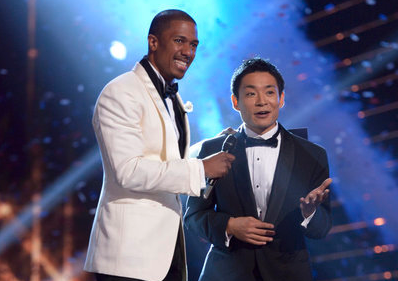 `AGT` host Nick Cannon, left, and Kenichi Ebina. (Submitted NBC photo)