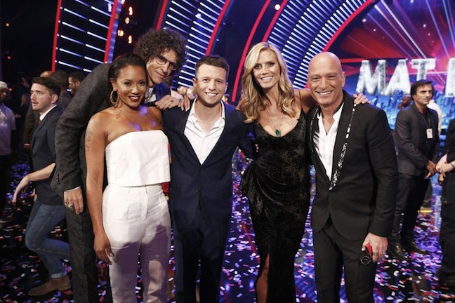"The votes are in and America has chosen Mat Franco as the winner of season nine of ""America's Got Talent."" He is pictured, center, with judges (from left) Mel B, Howard Stern, Heidi Klum and Howie Mandel. (NBC photo)"