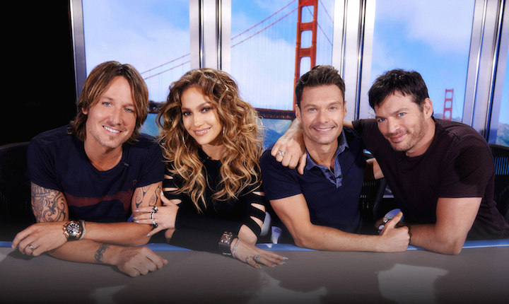 `American Idol XIV` returns with a special, two-night, three-hour premiere event Wednesday, Jan. 7 (8 p.m.), and Thursday, Jan. 8 (8 p.m.), on FOX. Shown, from left, are Keith Urban, Jennifer Lopez, Ryan Seacrest and Harry Connick Jr. (FOX photo by Michael Becker)