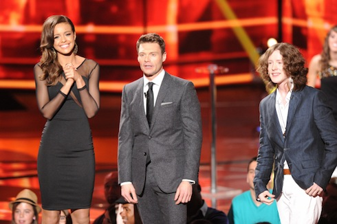 `American Idol`: Aubrey Cleland will perform on the `American Idol Live!` tour. She is pictured with host Ryan Seacrest and singer Charlie Askew. (photo by Michael Becker/FOX; Copyright FOX)