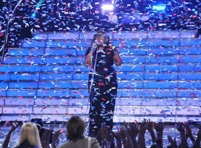 `American Idol`: Candice Glover is crowned the season 12 winner during the `American Idol` grand finale at the Nokia Theatre on Thursday. May 16, in Los Angeles. (FOX photo by Ray Mickshaw)