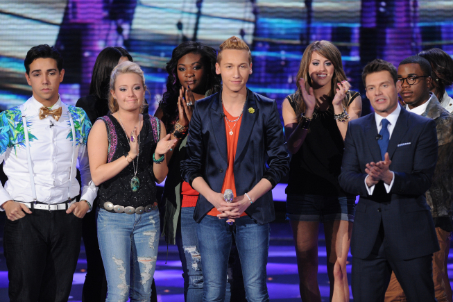 `American Idol`: Devin Velez (center) was eliminated on Thursday's episode of `American Idol` on FOX. (photo by Michael Becker/FOX; copyright: FOX)