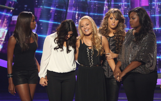 `American Idol`: Janelle Arthur was eliminated on `American Idol` Thursday on FOX. Pictured, from left, are Amber Holcomb, Kree Harrison, Janelle Arthur, Angie Miller and Candice Glover. (FOX photo by Michael Yarish; copyright: FOX)