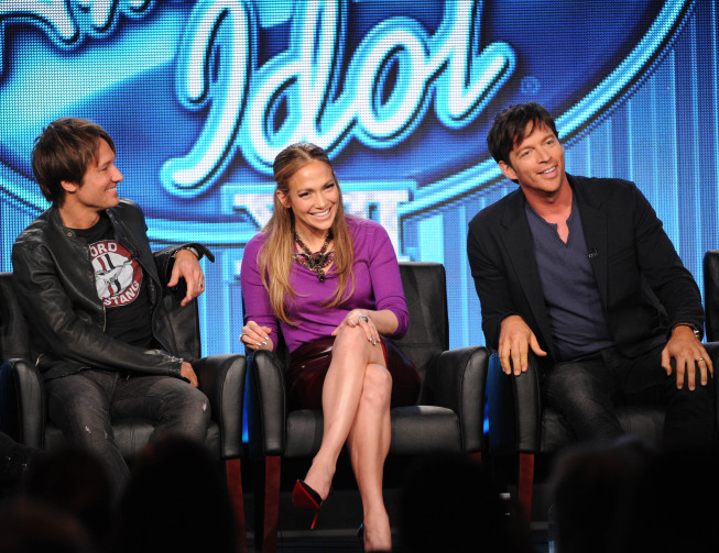 Judges Keith Urban, Jennifer Lopez and Harry Connick Jr. during the `American Idol XIII` panel at the 2014 FOX Winter TCA on Monday, Jan. 13, at the Langham Hotel in Pasadena, Calif. (FOX photo by Frank Micelotta)