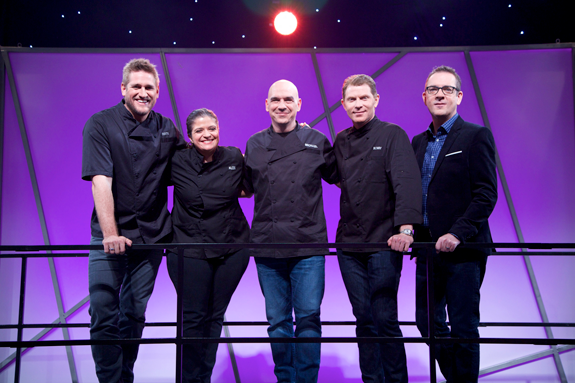 `All-Star Academy`: Pictured, from left, are Alex Guarnaschelli, Curtis Stone, Michael Symon, Bobby Flay and Ted Allen.