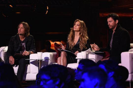`American Idol XIV`: Pictured, from left, are Judges, Keith Urban, Jennifer Lopez and Harry Connick Jr. at the `Idol Showcase` inside the House of Blues. (FOX photo by Michael Becker).