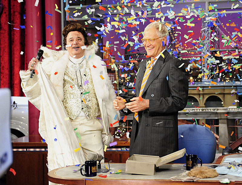 `The Late Show with David Letterman` celebrates its 20th anniversary on Thursday with Bill Murray, who was `The Late Show's` first guest 20 years ago. Murray retrieved a time capsule as part of the festivities on the CBS Television Network. (CBS photo by John Paul Filo)