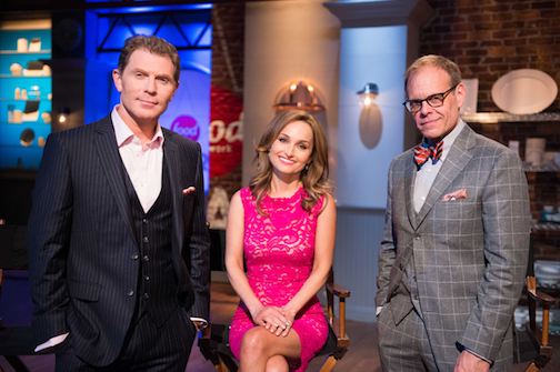 Pictured are `Food Network Star` coaches Bobby Flay, Giada De Laurentiis and Alton Brown. (Food Network photo)