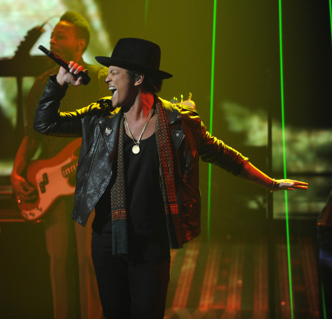 No stranger to the FOX Network, Bruno Mars has performed on `The X Factor,` as pictured, and at Sunday's Super Bowl. (FOX photo by Ray Mickshaw)