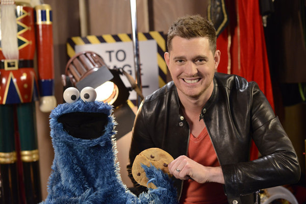 Cookie Monster and Michael Bublé. (NBC photo by Chris Large)
