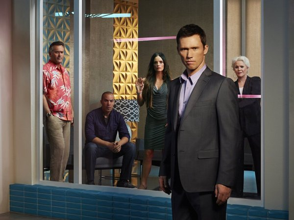 `Burn Notice` season seven: Pictured from left are Bruce Campbell as Sam Axe, Coby Bell as Jesse Porter, Gabrielle Anwar as Fiona Glenanne, Jeffrey Donovan as Michael Westen, and Sharon Gless as Madeline Westen. (USA Network photo by Robert Ascroft)