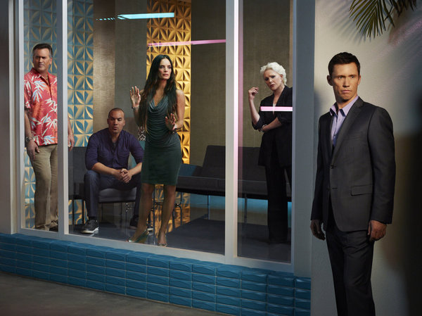 `Burn Notice` season seven: Pictured, from left: Bruce Campbell as Sam Axe, Coby Bell as Jesse Porter, Gabrielle Anwar as Fiona Glenanne, Sharon Gless as Madeline Westen and Jeffrey Donovan as Michael Westen. (USA Network photo by Robert Ascroft)