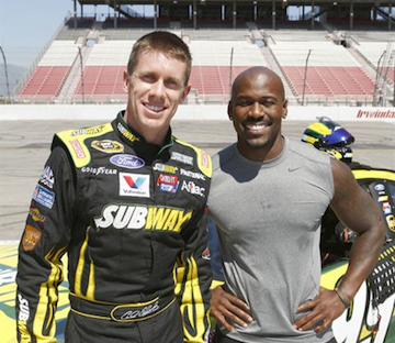 Carl Edwards, left, and Dolvett Quince. (NBC photo by Trae Patton)