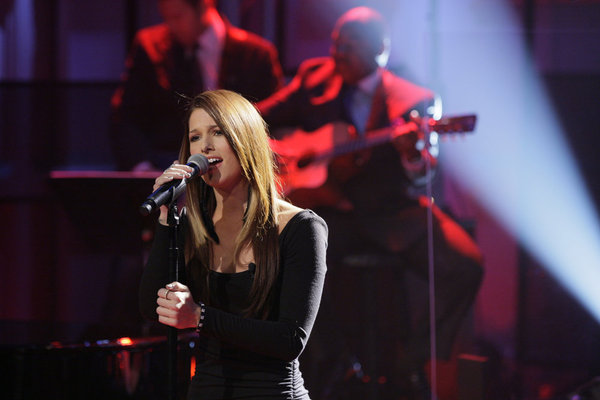 Cassadee Pope is shown performing on `The Tonight Show with Jay Leno.` Pope, who won season three of `The Voice,` will return to the show next week to perform her new single `Wasting All These Tears.` (NBC photo by Paul Drinkwater; second photo also courtesy of NBC)