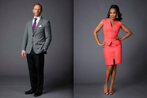 """The Celebrity Apprentice"" Pictured are stars Ian Ziering and Vivica Fox. (NBC photos by Patrick Randak)"