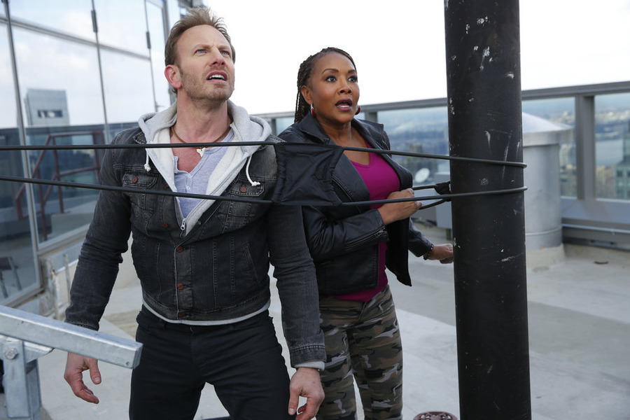 Ian Ziering starred as Fin Shepard and Vivica A. Fox as Skye in `Sharknado 2: The Second One.` (Syfy photo by Will Hart)