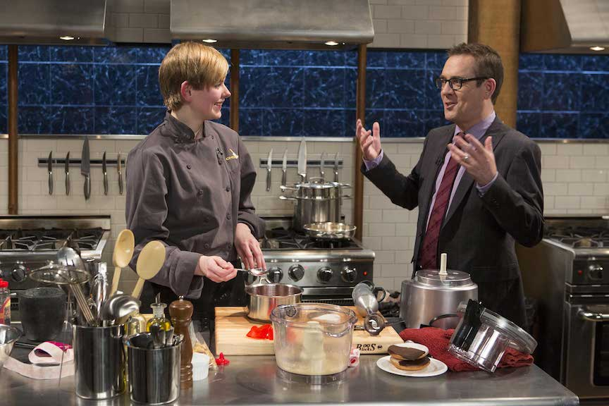 A teen contestant with host Ted Allen on `Chopped Teen Tournament.`