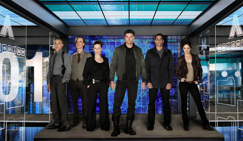 `Almost Human`: From left to right: Michael Irby, Mackenzie Crook, Lili Talor, Karl Urban, Michael Ealy and Minka Kelly star in `Almost Human,` premiering in late fall and airing Mondays at 8 p.m. on FOX.