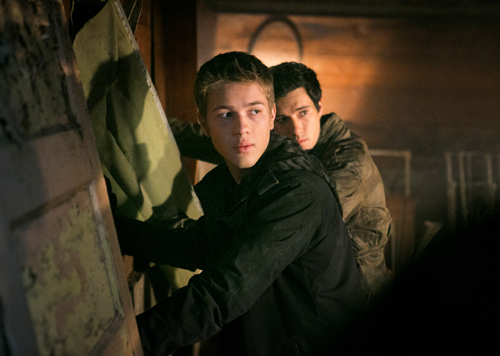 Connor Jessup (front) and Drew Roy in `Falling Skies` (TNT photo by James Dittiger)