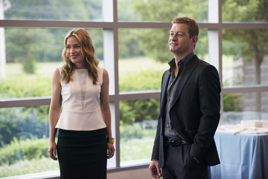 `Covert Affairs`: Pictured, from left, are Piper Perabo as Annie Walker and Nic Bishop as Ryan McQuaid. The season five summer finale airs Tuesday, Aug. 26, at 10 p.m. on the USA Network. (photo by Christos Kalohoridis/USA Network)
