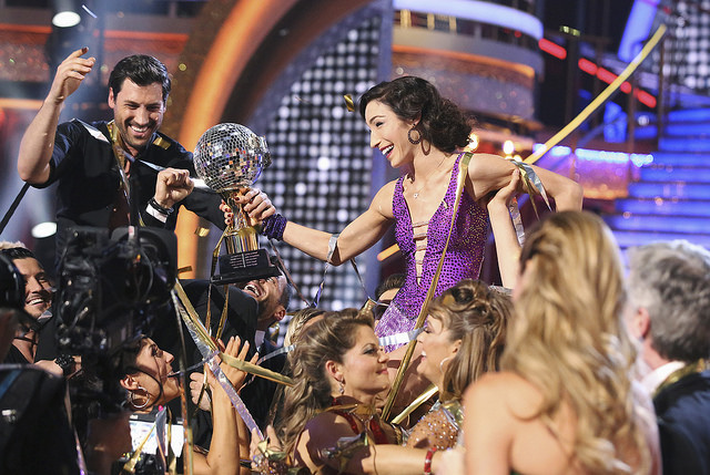 `Dancing With The Stars`: At the end of the night, Meryl Davis and Maksim Chmerkovskiy were crowned winners on ABC. (photo by Adam Taylor/ABC)
