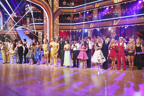 `Dancing with the Stars`: Pictured from last Monday's episode are Karina Smirnoff, Jacoby Jones, Sharna Burgess, Andy Dick, Wynonna Judd, Tony Dovolani, Dorothy Hamill, Tristan MacManus, Alexandra Raisman, Peta Murgatroyd, Sean Lowe, Zendaya, Val Chmerkovskiy, Cheryl Burke, D.L. Hughley, Lisa Vanderpump, Gleb Savchenko, Kym Johnson, Ingo Rademacher, Lindsay Arnold, Victor Ortiz, Kellie Pickler and Derek Hough. (ABC photo by Adam Taylor)