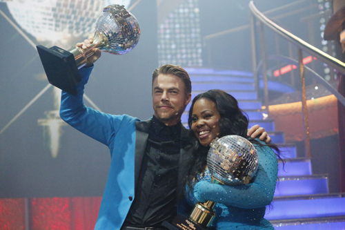 `Dancing with the Stars`: Amber Riley and Derek Hough were crowned season 17 champions and awarded the coveted mirror ball trophy on the two-hour season finale on ABC. (ABC photo by Kelsey McNeal)