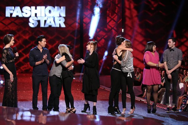 `Fashion Star`: Pictured from left: Louise Roe, Garrett Gerson, JesseRay Vasquez, Hunter Bell, Cassandra Hobbins, Silvia Arguello, Amber Perley, Johana Hernandez and Daniel Silverstein. (NBC photo by: Tyler Golden)