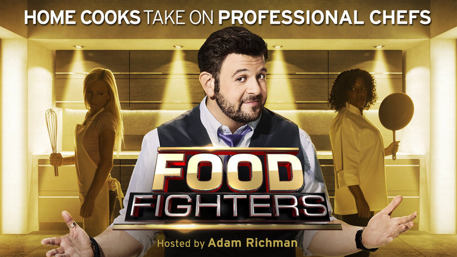 `Food Fighters` airs Tuesdays at 8 p.m. on NBC. Pictured is host Adam Richman. (NBC graphic)