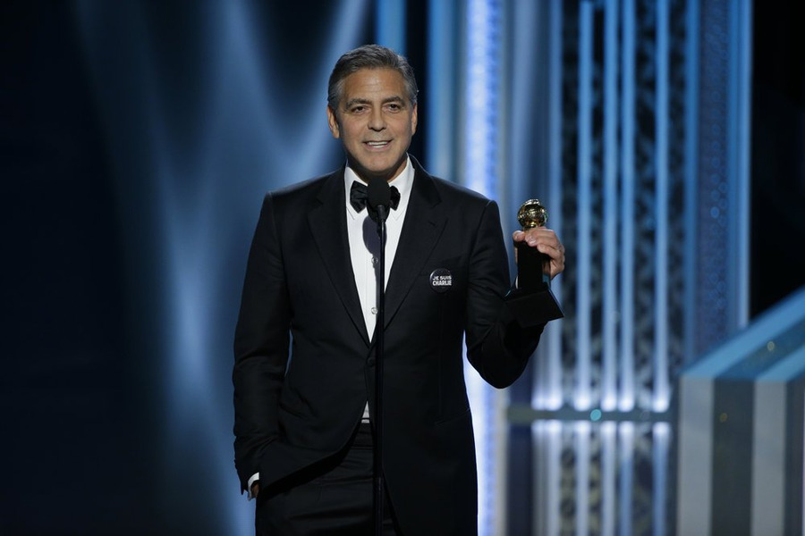 72nd Annual Golden Globe Awards: George Clooney took home the Cecil B. DeMille Award Sunday. (NBC photo by Paul Drinkwater)