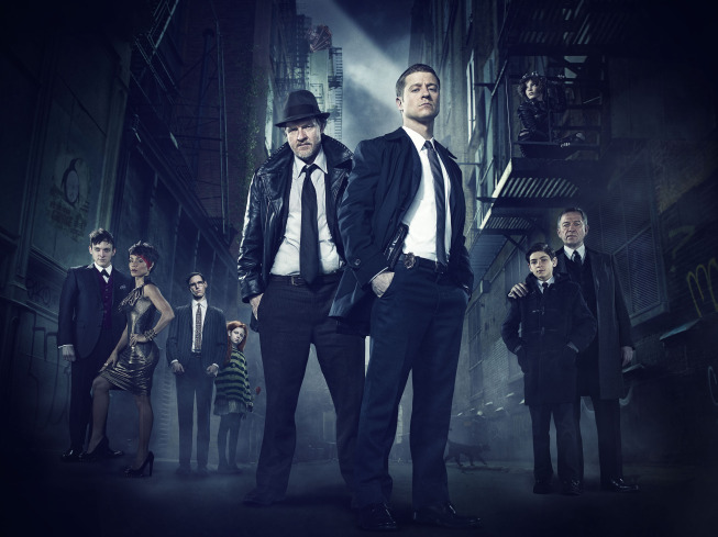 `Gotham` traces the rise of the great DC Comics super-villains and vigilantes, revealing an entirely new chapter that has never been told. `Gotham` premieres Monday, Sept. 22, on FOX. Pictured, from left: Robin Lord Taylor, Jada Pinkett Smith, guest star Cory Michael Smith, guest star Clare Foley, Donal Logue, Ben McKenzie, Camren Bicondova, David Mazouz and Sean Pertwee. (FOX photo)