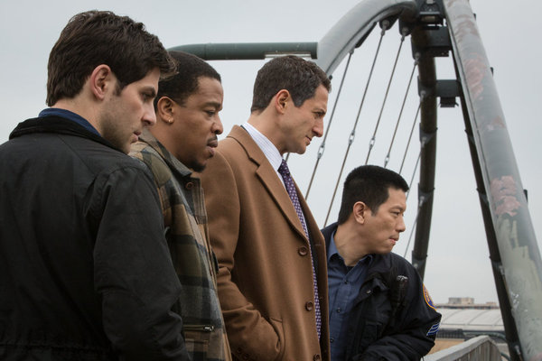 `Grimm`: Pictured, from left, are David Giuntoli as Nick Burkhardt, Russell Hornsby as Hank Griffin, Sasha Roiz as Capt. Renard, and Reggie Lee as Sgt. Wu. `Grimm` is moving to the Tuesday at 10 p.m. timeslot on NBC. (Photo by Scott Green/NBC)
